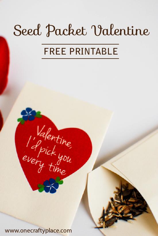 Seed packet Valentine printable:  Sugar-free valentines!