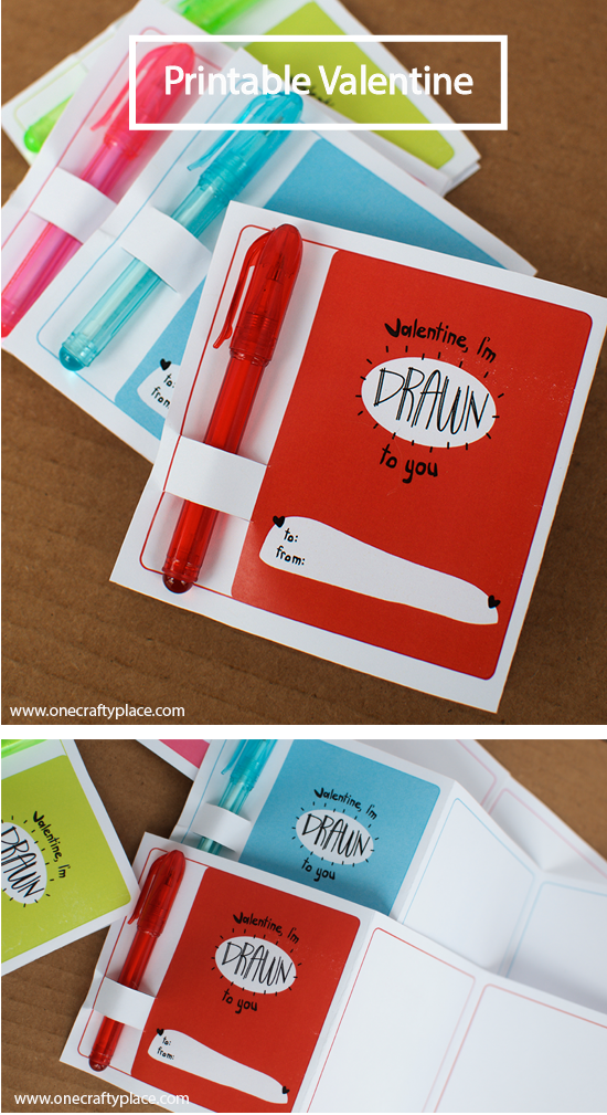 "printable valentine with ""drawn to you"" text"